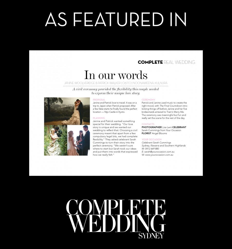 Complete Wedding story - Janine and Patrick
